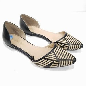 Restricted D'Orsay Geo Embroidered Flats Size 7.5